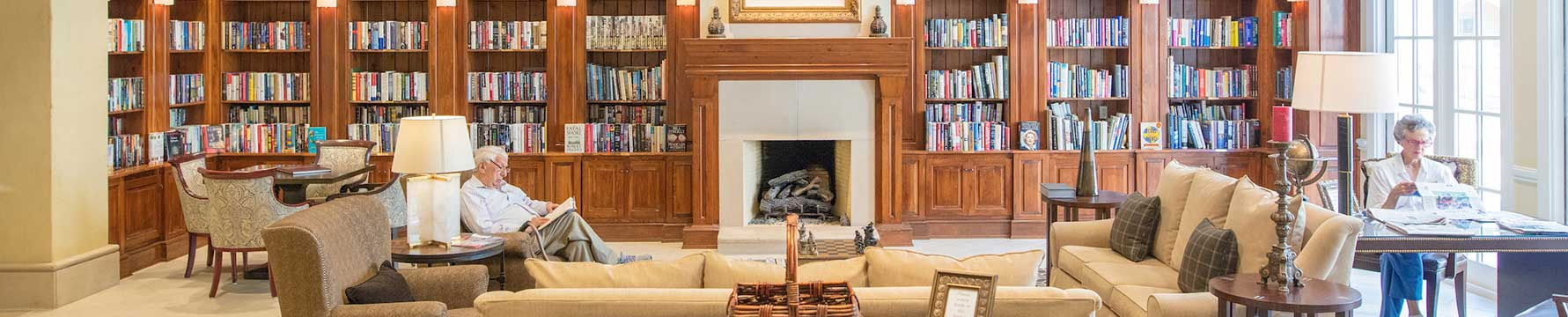 The library at Edgemere a senior living community in Dallas